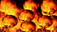 Round balls of fire Stock Footage