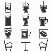 Coffee drinks icons in coffee shop on white background Stock Illustration