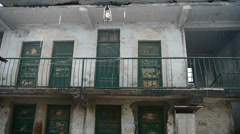 Falling rain & dilapidated house. Stock Footage
