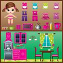 Stock Illustration of paper doll with clothes set