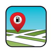 street map icon with the pointer gas station - stock illustration