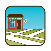 icon of pharmacy with street map - stock illustration