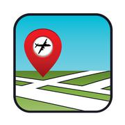 street map icon with the pointer airport - stock illustration