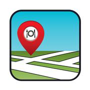 street map icon with the pointer restaurant - stock illustration