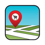 street map icon with the pointer supermarket - stock illustration