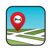 street map icon with the pointer hotel - stock illustration