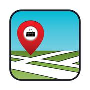 street map icon with the pointer store bags - stock illustration