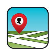 street map icon with the pointer beauty salon - stock illustration