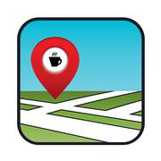 street map icon with the pointer coffee shops, cafes - stock illustration