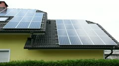 Solar panels on a roof of a beautiful house Stock Footage
