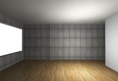 empty interior with bare concrete wall and wood floor - stock illustration