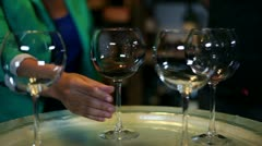 Young woman tasting in a wine cellar Stock Footage
