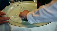 Young man wine and cheese tasting Stock Footage
