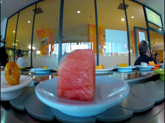 Rotating platform at Japanese restaurant Stock Footage