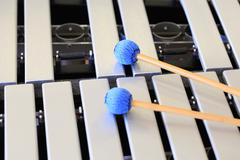 Vibraphone keys and mallets close up Stock Photos