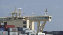Bridge of large containership - close up + zoom out harbour mouth Stock Footage