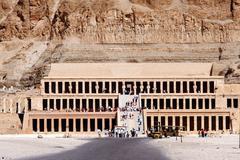 mortuary temple of hatshepsu - stock photo