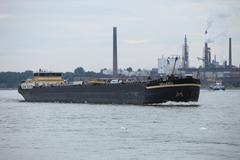 empty barge or container ship - stock photo