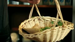Close up of a basket with hops in it Stock Footage