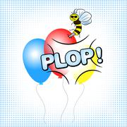Bee that burst a balloon Stock Illustration