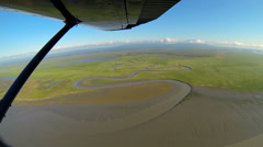 Aerial view of melt water swampland remote Alaskan Wilderness, Alaska, USA - stock footage