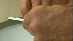 Man Files Fingernails Close Up Stock Footage