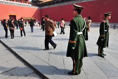 security in the forbidden city beijing china - stock photo
