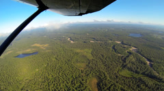 Aerial view from light aircraft forestation Wilderness tundra Alaska, USA Stock Footage