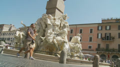 Fontana dei Quattro Fiumi on Piazza Navona 2 (slomo dolly) Stock Footage
