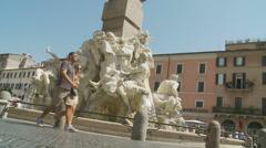 Fontana dei Quattro Fiumi on Piazza Navona 2 (slomo dolly) Stock Footage
