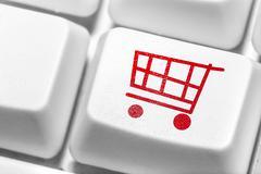 Sähköisen kaupankäynnin, ostoksia verkossa. Kuvituskuvat