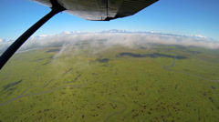 Aerial view from light aircraft swamp and marshland  Wilderness tundra Alaska, Stock Footage