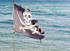 Tattered pirate flag Stock Photos