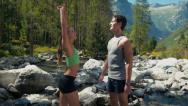 Stock Video Footage of 4of4 Young man and woman running on mountain trail, sport
