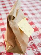 School lunch in brown paper bag Stock Photos