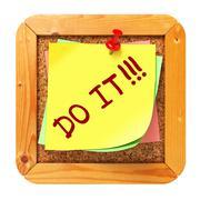 Do It. Yellow Sticker on Bulletin. - stock illustration
