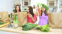 Caucasian Mother Teenage Daughters Kitchen Shopping Stock Footage