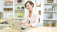 Independent Business Female Working Home Laptop News Success - stock footage