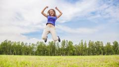 Young woman tumbling wheel Stock Footage