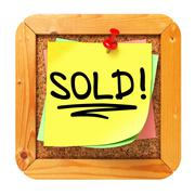 Stock Illustration of Sold!. Yellow Sticker on Bulletin.