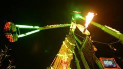 Funfair oktoberfest carousel attraction super wide 11063 Stock Footage