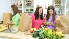 Healthy Caucasian Family Females Fresh Organic Produce Stock Footage