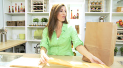 Healthy Caucasian Female Unpacking Fresh Organic Produce - stock footage
