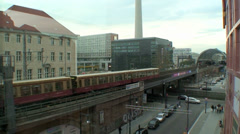Berlin Train Entering Alexanderplatz Station Stock Footage