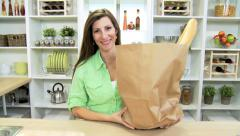 Portrait Healthy Caucasian Female Home Kitchen Stock Footage