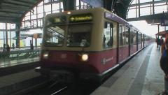 Train Entering Alexanderplatz Station at Berlin Stock Footage