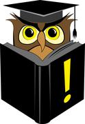 wise owl reading book - stock illustration