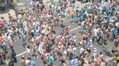 Static top shot of Pride Parade Stock Footage