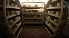 Big storage of cheese of different kinds Stock Footage