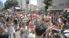 Young people march in the Pride Parade Stock Footage